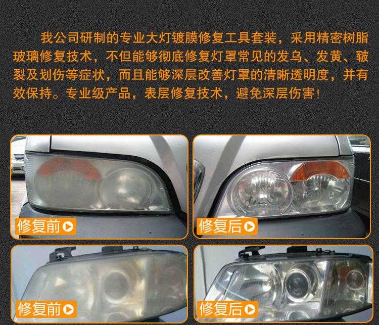 汽车车灯雾化翻新一体修复工具套装产品详情介绍